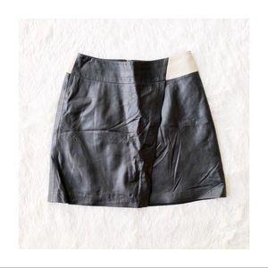 Leather color block asymmetrical skirt sz04
